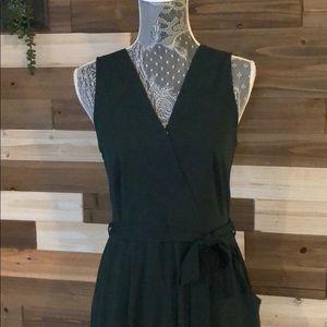 V-neck, side-slit, green jumpsuit
